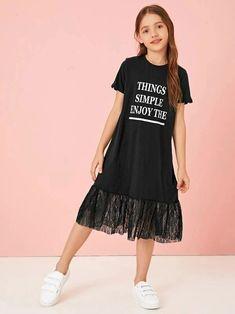Girls Sports Clothes, Girls Fashion Clothes, Teen Fashion Outfits, Kids Outfits, Girl Fashion, Houndstooth Dress, Striped Dress, Dresses Kids Girl, Cute Dresses