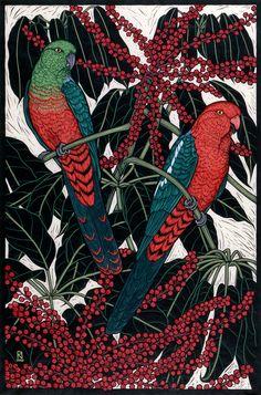 'King Parrot' - hand coloured linocut on handmade Japanese paper (ltd to fifty),  by artist Rachel Newling
