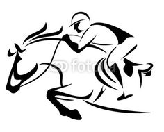 horse and jockey svg file | show jumping emblem - outline of horse and jockey di Cathlin, file ...