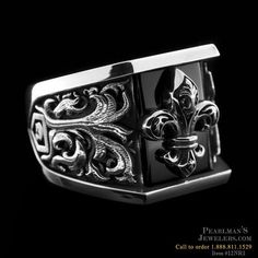 Closeout Jewelry Nightrider Silver Fleur de lis ring with onyx