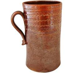 RARE Antique Albany Slip Glaze Stoneware Vessel Mug Scratch Decorated c1800 offered by Premier-Antiques