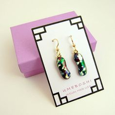 """Abstract Colors Dichroic Fused Glass Multi-colored Dangle -- by Glass Artist """"Umeboshi Jewelry"""", Glass Thumbs"""" on Etsy -- Handmade Bracelets, Earrings Handmade, Handmade Jewelry, Handmade Gifts, Glass Earrings, Unique Earrings, Dangle Earrings, Perfect Gift For Mom, Gifts For Mom"""