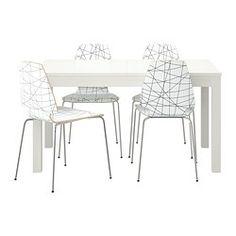 IKEA - BJURSTA / VILMAR, Stół i 4 krzesła, Przedłużany stół jadalniany z 2 dodatkowymi blatami dla 4-8 osób; rozmiar stołu można dopasować do potrzeb.Dodatkowe blaty możesz przechowywać w zasięgu ręki pod blatem stołu.Ukryty zamek utrzymuje dodatkowy blat na swoim miejscu i zapobiega powstawaniu przerwy między blatami.Pokrytą bezbarwnym lakierem powierzchnię łatwo wytrzeć do czysta.Melaminowa powierzchnia krzesła jest trwała i łatwa do utrzymania w czystości.Krzesła możesz ustawić jedno ...