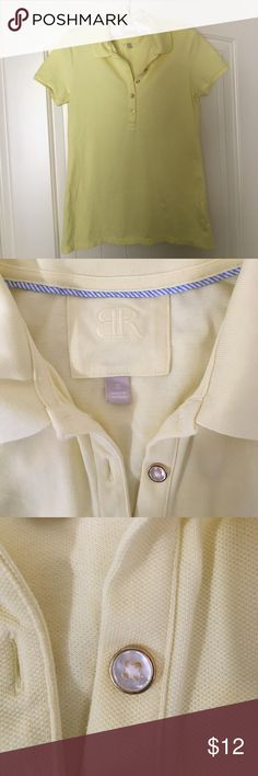 Banana Republic polo shirt Cute polo shirt in a pale yellow color (second photo is closest to actual color).  Worn maybe once.  Great condition.  Five mother-of-pearl buttons down the front.  Jeans also available in my closet! Banana Republic Tops