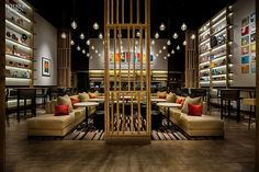 The custom sectional seats 16 at New York's Aldo Sohm Wine Bar by Bentel & Bentel, Architects/Planners.