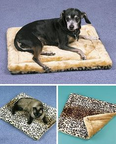 "Self Warming Thermal Pet Pad: Keeps your buddy cozy. 19 x 23 x 1 1/2"". Machine Washable. $13."