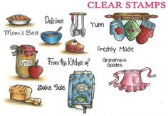 Cottage Impressions - In The Kitchen Clear Stamps. This stamp set coordinates with CottageCutz - Homemade Tag die CC4x4-376 (Sold Separately).Art.nr. SC-CIC-016-J