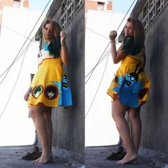 My new handmade painted dress- Yellow Submarine <3 Love the Beatles <3