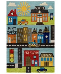 Momeni Area Rug, Lil Mo Whimsy LMJ12 Town Scene 2' x 3'