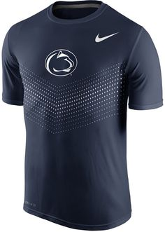 The athletic fit of this Nike NCAA Legend Sideline t-shirt makes for a contemporary statement in traditional team colors. Support the Penn State Nittany Lions with a little more than casual flair. Crew neckline Short sleeves Screen print team logo at front Athletic fit Tagless Polyester Machine washable