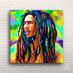 BOB MARLEY (mounted) reggae photo guitar poster cd canvas art giclee painting print