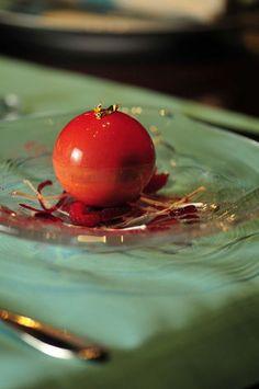 """La Framboise"" - Fresh Raspberry Surprise Inside White Chocolate Sphere, Yuzu Ice Cream by Pastry Chef Kamel Guechida - L'Atelier de Joel Robuchon Restaurant - Las Vegas (USA)"