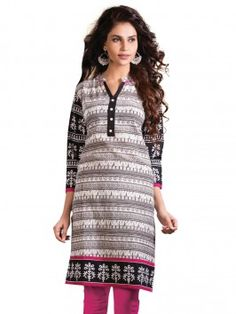White And Grey Printed Cambric Cotton Kurti