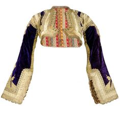 Early 20th Century Ethnic Cropped Purple Velvet Jacket with Gold Braid | From a collection of rare vintage jackets at https://www.1stdibs.com/fashion/clothing/jackets/