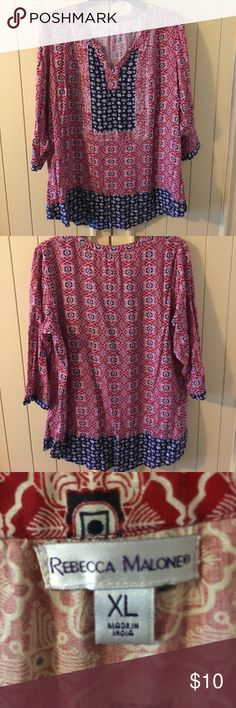 Navy and red blouse size XL Size extra-large red and burgundy blouse. Never been worn but tags are off of it. 3/4 length sleeves. Tops Blouses