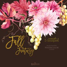 Dahlias Watercolor Fall Wreath & Bouquets clipart by ReachDreams