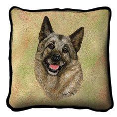 Norwegian Elkhound Dog Portrait Art Tapestry Pillow