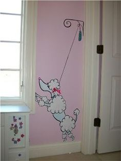 french poodle mural pink girls room