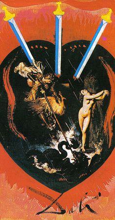 Three of Swords - Dali Universal Tarot by Juan Llarch, Salvador Dali