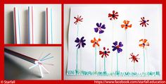 Paint flowers with a straw! Check facebook.com/starfall.education for other fun things for children to make and do.