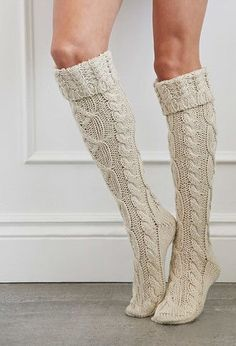 Boot socks: Cuffed Knee-High Slipper Socks | Forever 21