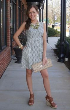 Diamond in the Ruff Dress, $69.99 (sizes XS-L)  Necklace Set, 25  Straw Clutch, 49.99  DV by Dolce Vita Braided Wedge, 79.99