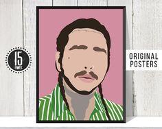 POST MALONE Minimalist Music Poster Posteritty Minimal Print Art Stylised Face