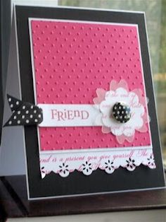 handmade greeting card ... hot pink with black and white ... luv the vellum die cut layer on the flower focal point ... Stampin' Up!