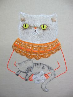 ♒ Enchanting Embroidery ♒ embroidered squish-faced cat by catrabbitplush on Etsy