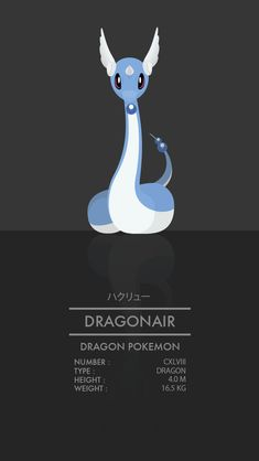 Dragonair - 148 - A mystical Pokemon that exudes a gentle aura, and has the ability to change climate conditions. Pokemon Go, Pokemon Number, Pokemon Pokedex, Pikachu, Cute Pokemon, Pokemon Cards, Gen 1 Pokedex, Dragonair, Pokemon Pictures