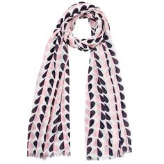 A lovely scarf made of a soft mixture of cotton with viscose giving it a light airy feel. It features a pretty print of hearts with one side pink and the other side a dark navy blue. Finished off with frayed edging.