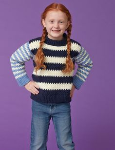Yarnspirations.com - Caron Duo Stripes Kids Pullover - Patterns  | Yarnspirations