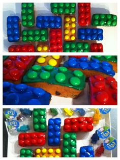 Lego cakejes; reepjes ontbijtkoek, gekleurd glazuur en smarties erop. Alsof je legoblokjes trakteert. Nog een lekkere combinatie ook