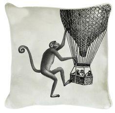 linen cushion, monkey with balloon