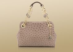 Bvlgari Bon-ton bag in soft semi shiny ostrich in taupe with light gold plated hardware.