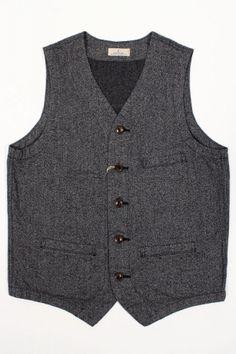 Japan Blue JBVB01 Covert Twill Vest Grey : SUNSETSTAR
