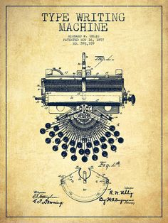 Typewriter Digital Art - Type Writing Machine Patent Drawing From 1897 - Vintage by Aged Pixel Vintage Labels, Vintage Ephemera, Vintage Paper, Vintage Pictures, Vintage Images, Writing Machine, Patent Drawing, Vintage Drawing, Patent Prints