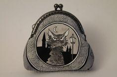 Porte-monnaie chat noir 'Chafoin' en tissu : Porte-monnaie, portefeuilles par littleblackowl