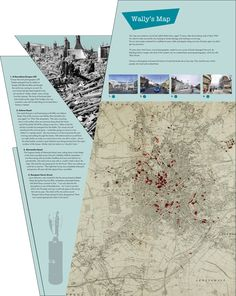 The Bridewell Museum | Norwich | Design of 'Wally's Map' interactive graphics showing the areas of Norwich in the Blitz, marked during the War by a young boy on his bicycle and using the amazing 'Blitz Ghosts' images by Nick Stone.