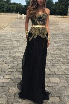 Prom dress 2016,Sweetheart prom dress,Appliques prom dress,Elegant Strapless Black Long Chiffon Prom/Evening Dress With Lace Appliques