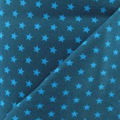 Tissu jersey coton étoiles bleuet fond bleu canard  x 10cm