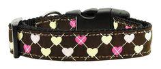 Argyle Hearts Nylon Ribbon Collar