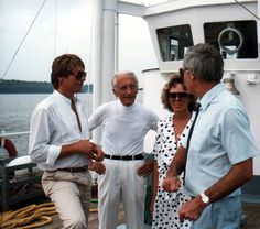 John, Jacques Cousteau, Ted Turner on Calypso. Cousteau's 75th birthday party in Washington D.C.