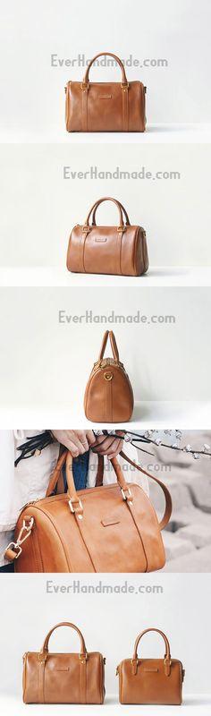 Handmade leather brown boston bag purse shoulder bag handbag