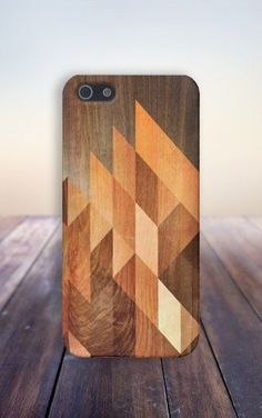 Geometric Stained Wood Phone Case