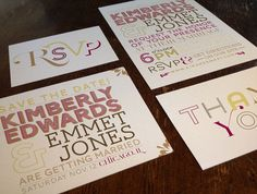 Typographic Wedding Invitation RSVP Card Save by FiraPrintables, $115.00