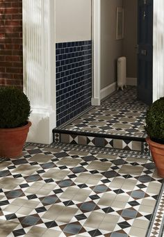 Practical, durable but on trend outdoor tiles from Topps Tiles. Porch Wall Tiles, Patio Tiles, Outdoor Tiles, Victorian Porch, Victorian Tiles, Victorian Design, Hall Tiles, Tiled Hallway, Flats
