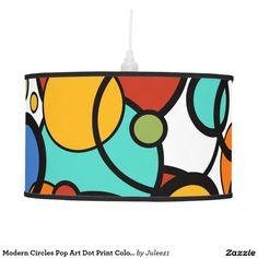 Modern Circles Pop Art Dot Print Colorful Lamp