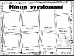 1)Syysloma 2) Tarina kysymyksiin vastaamalla http://www.vahvike.fi/sites/default/files/perussivu-pdf/Tarina_kirjaimilla.pdf