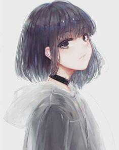 Girl With Short Hair Drawing . Girl With Short Hair - Covid Logisn Dark Anime Girl, Manga Girl, Anime Girl Short Hair, Anime Girl With Black Hair, Pretty Anime Girl, Cool Anime Girl, Beautiful Anime Girl, Kawaii Anime Girl, Anime Art Girl
